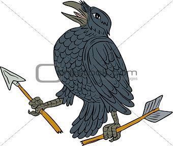 Crow Clutching Broken Arrow Drawing