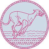 Greyhound Dog Racing Circle Mono Line