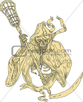 Grim Reaper Lacrosse Stick Drawing
