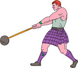 Weight Throw Highland Games Athlete Drawing