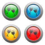 Goblets icon glass button set