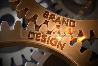 Brand Design Concept. Golden Cogwheels. 3D Illustration.