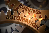 Business Automation on Golden Cogwheels. 3D Illustration.