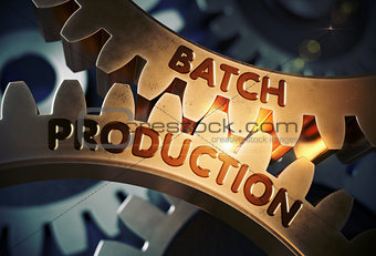 Batch Production on Golden Gears. 3D Illustration.