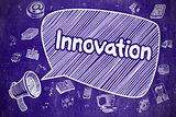 Innovation - Doodle Illustration on Blue Chalkboard.
