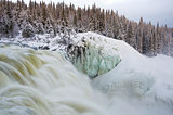Tannoforsen waterfall in Sweden in winter