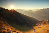sunrise in rocky Alps
