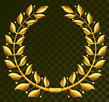 Golden laurel wreath on dark transparent background