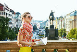 woman on Vaclavske namesti in Prague Czech Republic sightseeing