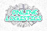 Online Logistics - Cartoon Green Word. Business Concept.