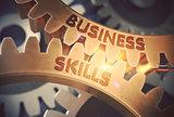 Business Skills on the Golden Gears. 3D Illustration.