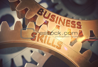 Business Skills on the Golden Gears. 3D Illustration.