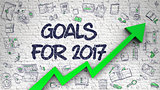 Goals For 2017 Drawn on White Brickwall.