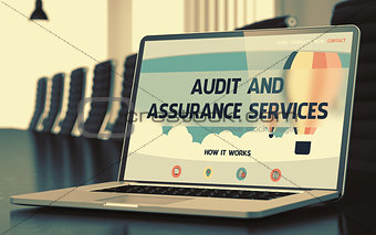 Audit And Assurance Services - on Laptop Screen. Closeup. 3D.