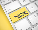 Social Media Marketing - Yellow Keyboard Button. 3D.