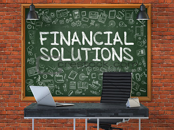 Chalkboard on the Office Wall with Financial Solutions Concept. 3D.