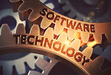 Software Technology on Golden Cog Gears. 3D Illustration.