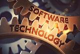 Software Technology on Golden Cog Gears. 3D Illustration.