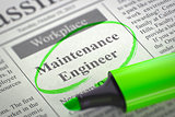 Now Hiring Maintenance Engineer. 3D.