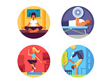 Fitness for healthy life icons set