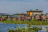 floating houses Inle Lake Shan state Myanmar