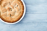 Apple Pie Over Blue Wooden Table Top