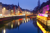 Morning embankment in Strasbourg, Alsace