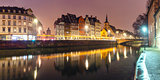 Panorama of morning quay in Strasbourg, Alsace