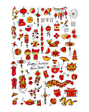 Chinese new year, icons set for your design