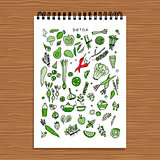 Green vegetable set, detox. Sketch for your design