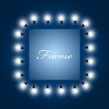Frame of luminous light bulbs - theatre poster