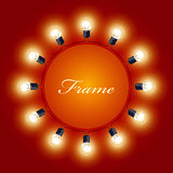 Round frame of light bulbs - theatre poster