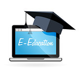 Distance learning - laptop and academic hat, e-education