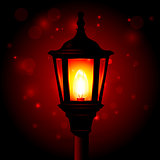 Street lamp - lantern on pole and blured background
