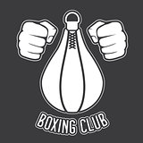 Boxing club emblem - fists and punching bag