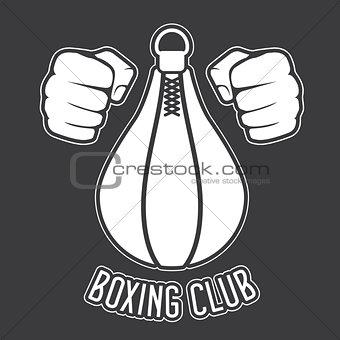 Boxing club emblem - fists and punching bag