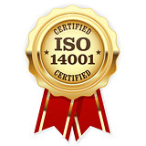 ISO 14001 certified - quality standard golden seal, environmenta