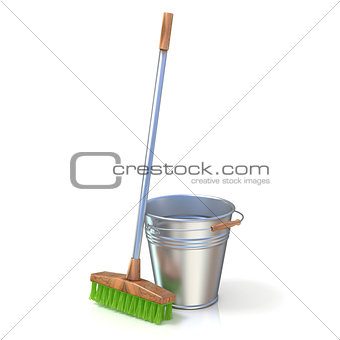 Cleaning equipment. Bucket and mop. 3D