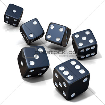 Six black game dices