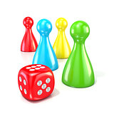 Board game figures with red dice. 3D