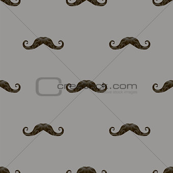 Black Hairy Mustache Silhouettes Seamless Pattern