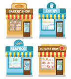 Stores building set, flat style. Shop collection isolated on white background. Fish products, meat, dairy, bakery. Vector illustration, clip art.