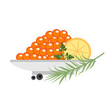 Red caviar in a plate with lemon and green icons. Flat style, isolated on white background. Vector illustration, clip art.