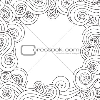 Abstract hand drawn frame, border with outline sea wave background isolated on white.