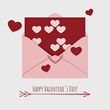 Happy Valentines day card with envelope and flying hearts