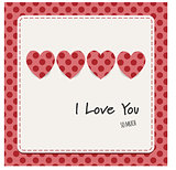 I love you card with hearts