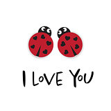 I love you card with two ladybugs