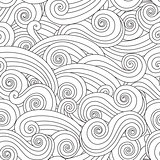Sea wave seamless pattern isolated on white background.