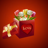 Valentine roses and tulips gift box background