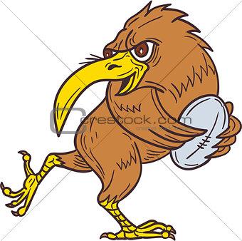 Kiwi Bird Running Rugby Ball Drawing